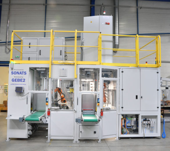 Robotized cell for ultrasonic shot peening – High rate production – SONATS