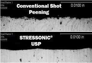Comparison of surface condition (roughness and shot peening post-treatment) on two 7000 series aluminium strips with identical shot peening intensity (12A)
