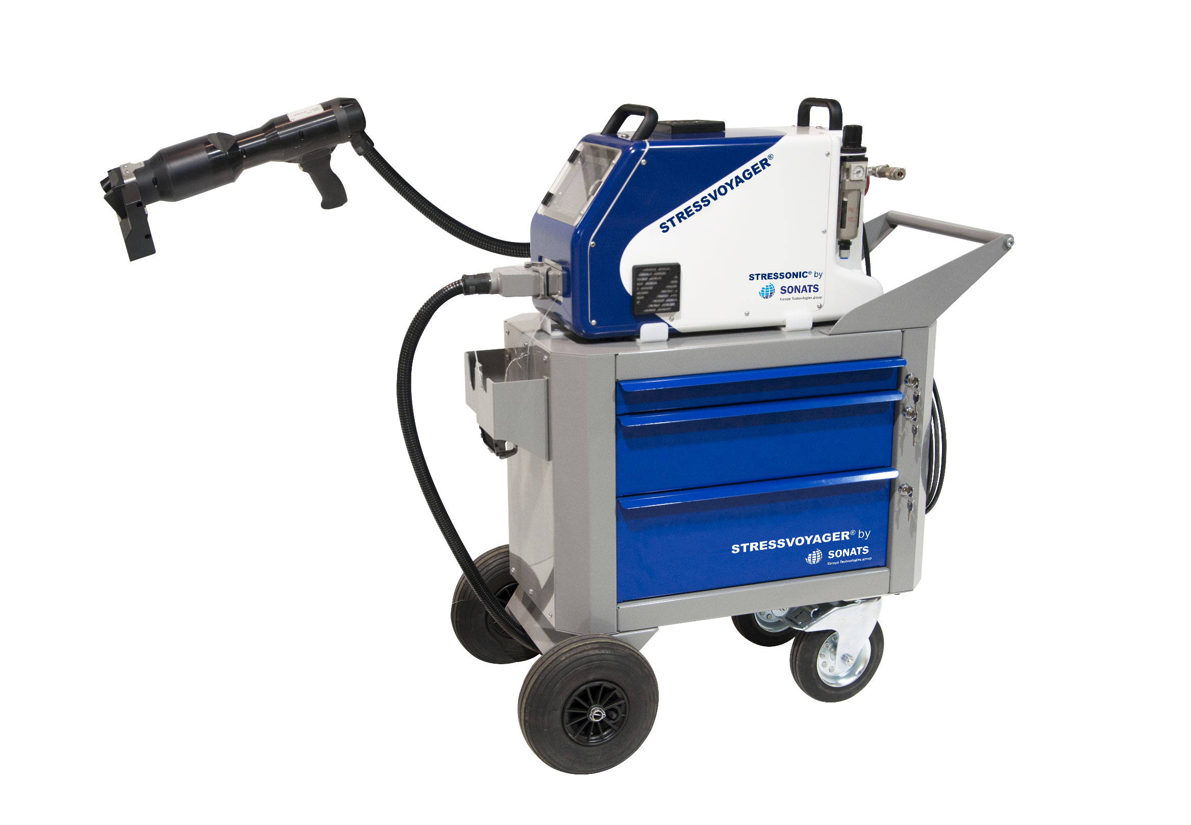 Système portatif de grenaillage activé par ultrasons sur chariot