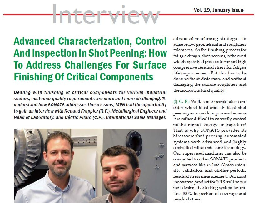 MFN Article - Advanced characterization, contro and inspection in shot peening - SONATS
