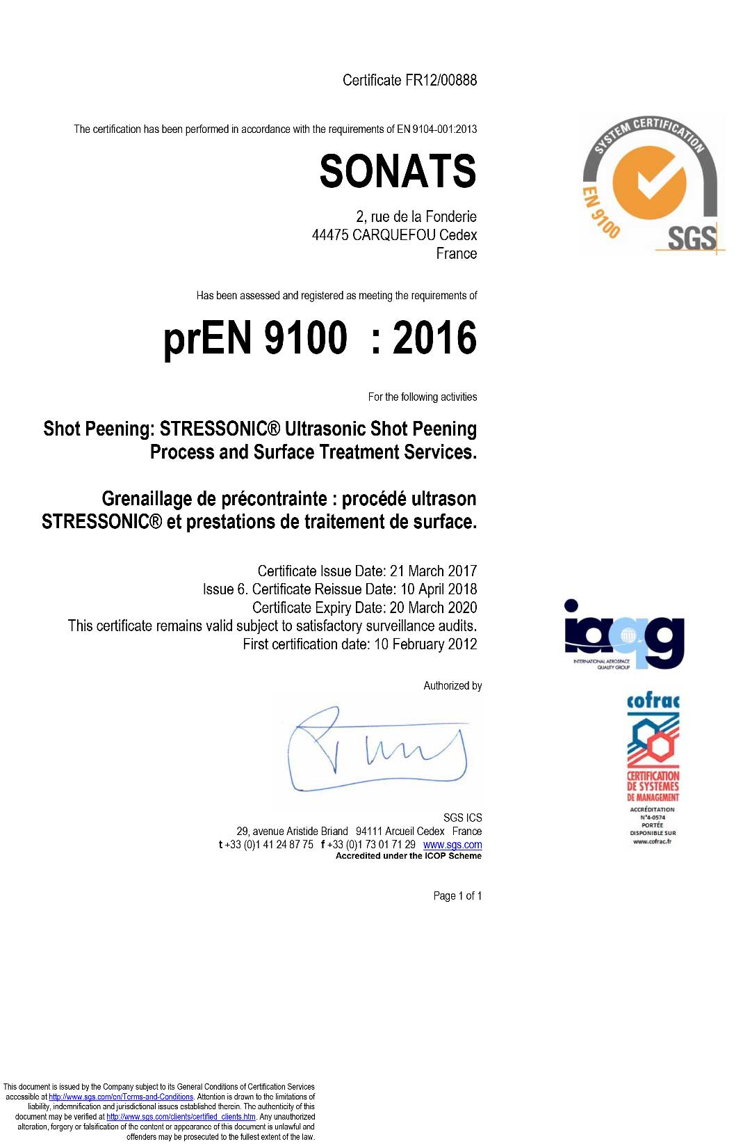 2018 Certificate SONATS EN 9100 - SONATS