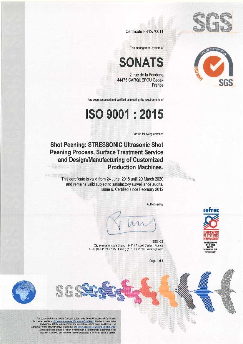 2018 Certificate SONATS ISO 9001 - SONATS
