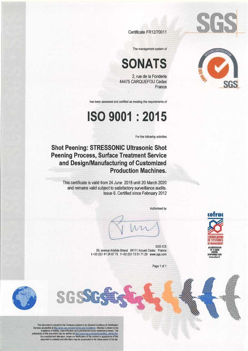 2018 Certificat SONATS ISO 9001 - SONATS