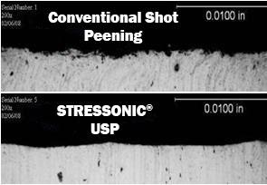 Comparaison rugosité - Grenaillage conventionel et grenaillage par ultrasons - SONATS
